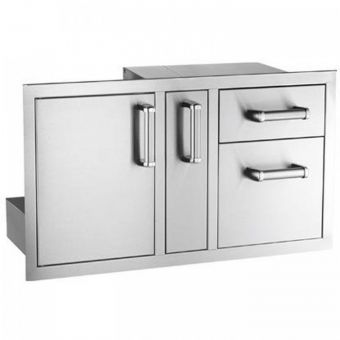 Fire Magic access door with double drawers and platter storage