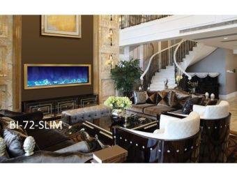 Amantii Panorama Slim 72 Electric Fireplace   Black Steel Surrond
